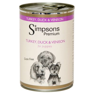 Simpsons Premium Turkey, Duck & Venison Casserole with Organic Vegetables for Puppies - säästöpakkaus: 12 x 400g