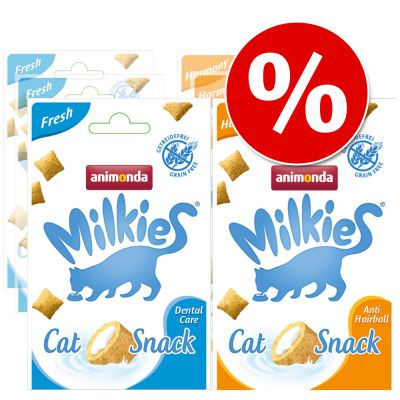 Gemengd Pakket Animonda Milkies Krokante Snacks - 6 x 30 g (3 x Fresh & 3 x Harmony)