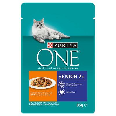 Purina ONE Senior 7+ Chicken - kana ja vihreät pavut (6 x 85 g)