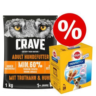 1 kg Crave-kuivaruoka + Dentastix pienille koirille erikoishintaan! - Adult Turkey & Chicken + 28 x Pedigree Dentastix (S)