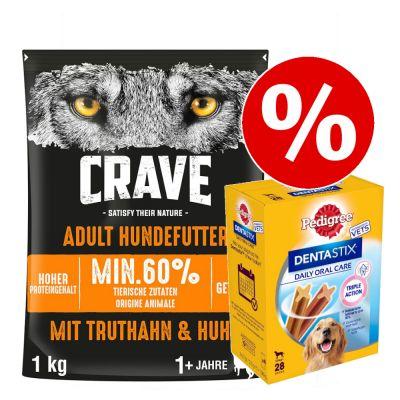 1 kg Crave -kuivaruoka + Dentastix (L) erikoishintaan! - Adult Dog Turkey & Chicken + 28 x Pedigree Dentastix (L)
