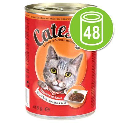 Säästöpakkaus: Catessy kastikkeella tai hyytelöllä 48 x 400 g - lohi hyytelössä