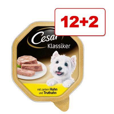 Cesar koiranruoka 14 x 150 g: 12 + 2 kaupan päälle! - Senior 10+, vasikka & riisi (14 x 150 g)