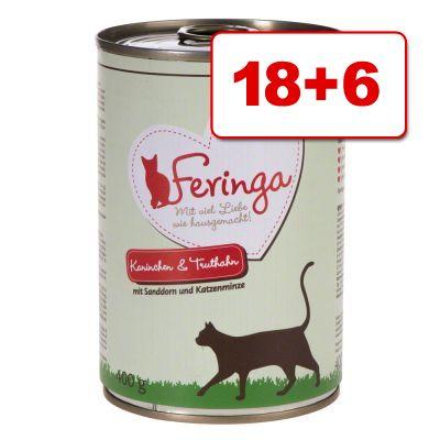 24 x 400 g Feringa Classic Meat Menu: 18 + 6 kaupan päälle! - ankka, vasikka, parsakaali & voikukka