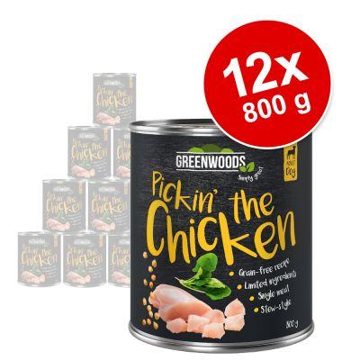 Greenwoods Adult 12 x 800 g - Pack Ahorro - Pollo con garbanzos y espinacas