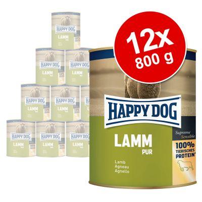 Happy Dog Pur 12 x 800 g – mix, 2 makua: naudanliha ja lammas
