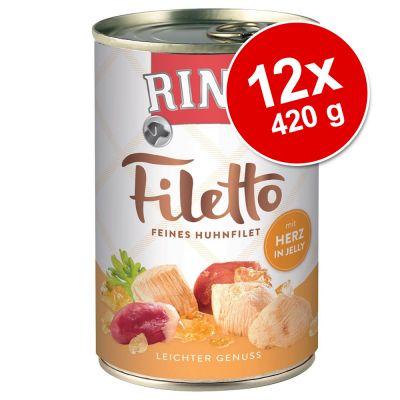 Rinti Filetto -säästöpakkaus 12 x 420 g - kana & kinkku kastikkeessa
