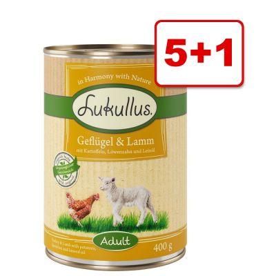 Lukullus Adult & Junior koiranruoka 6 x 400 g: 5 + 1 kaupan päälle! - kalkkunansydän & hanhi
