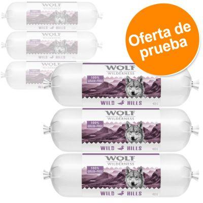 Wolf of Wilderness en salchichas 6 x 400 g - Pack de prueba  - Pack mixto: pato, cordero y Canadá