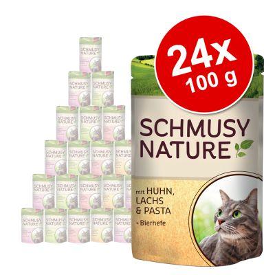 schmusy-nature-mix-voordeelpakket-kattenvoer-24-x-100-g-kip-rund-kalkoen-wild