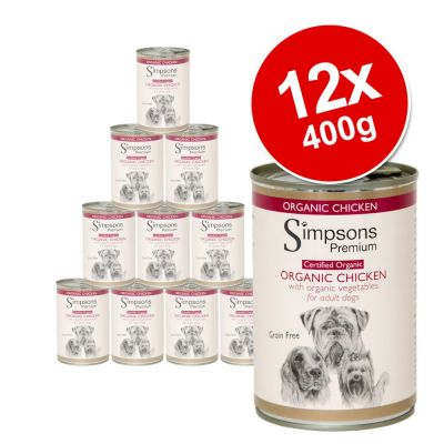 Simpsons Premium -säästöpakkaus 12 x 400g - Puppy: Turkey, Duck & Venison Casserole with Organic Vegetables
