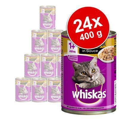 24 x 400 g Whiskas 1 Blikken Kattenvoer in gemengd pakket Hart in terrine Kip in Gelei
