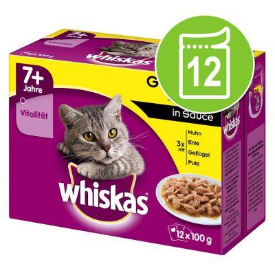 Whiskas 7+ años 12 x 85/100 g en bolsitas - Selección de aves en salsa (12 x 100 g)
