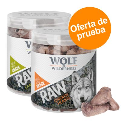 Wolf of Wilderness RAW snacks liofilizados - Pack de prueba mixto (2 tipos) - Vacuno (90 g) + pollo (70 g)