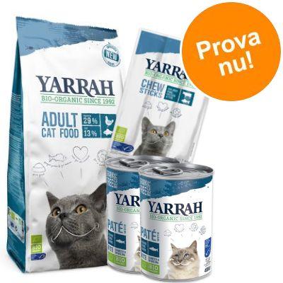 Provpack: Yarrah Organic med fisk torrfoder + våtfoder + snacks - 2,4 kg torrfoder + våtfoder + snack