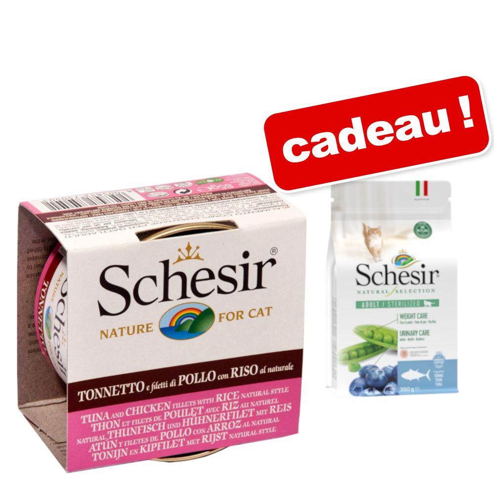 Schesir Natural, riz 6 x 85 g + Croquettes Natural Selection 350 g offertes ! - thon & petits anchois au riz