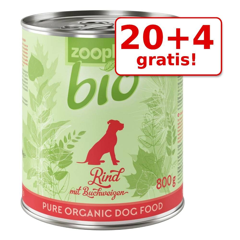 20 + 4 gratis! 24 x 800 g zooplus Bio  - Mix: Bio-Rind, Bio-Pute