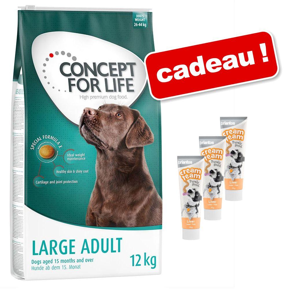 12kg Golden Retriever Adult Concept for Life croquettes pour chien + 3x75g Cream Team Briantos friandises offertes !