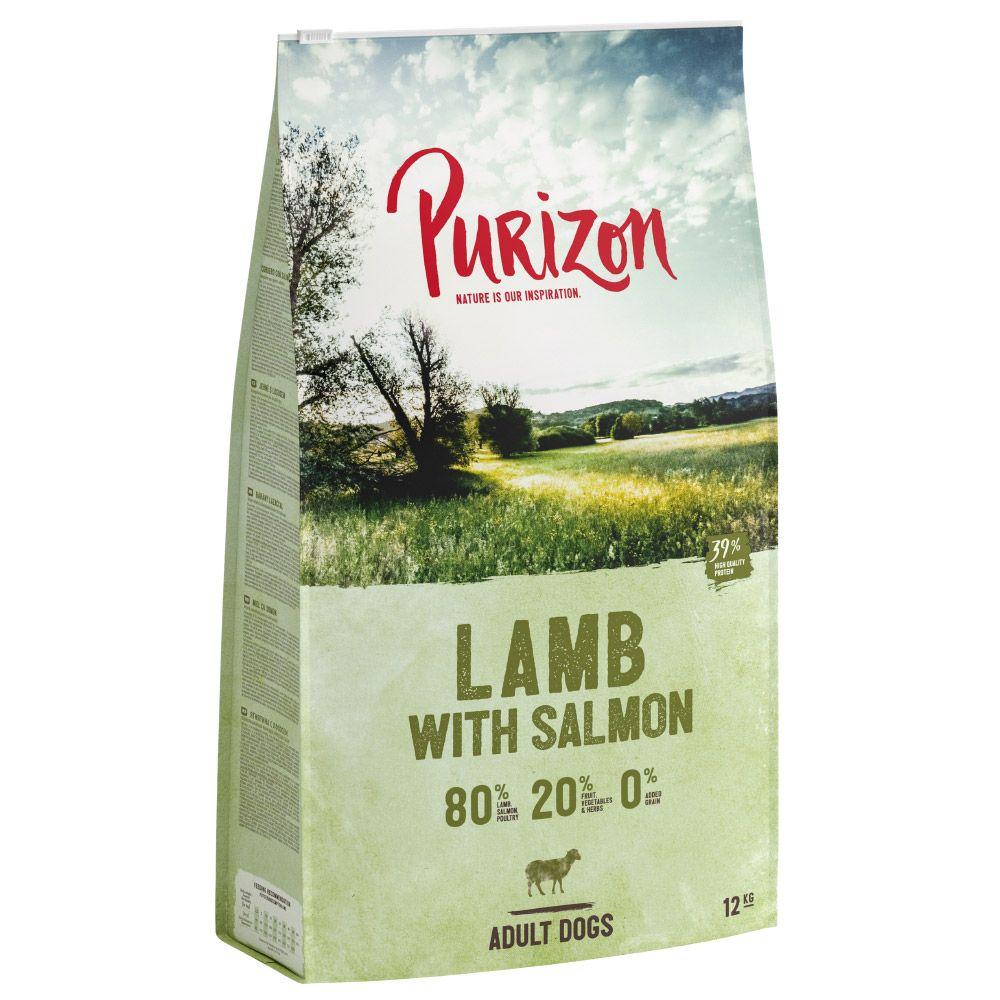 12kg Purizon Grain-Free 80:20:0 Dry Dog Food + 2kg Extra Free!* - Lamb with Salmon Adult - Grain-Free (12kg + 2kg free!)