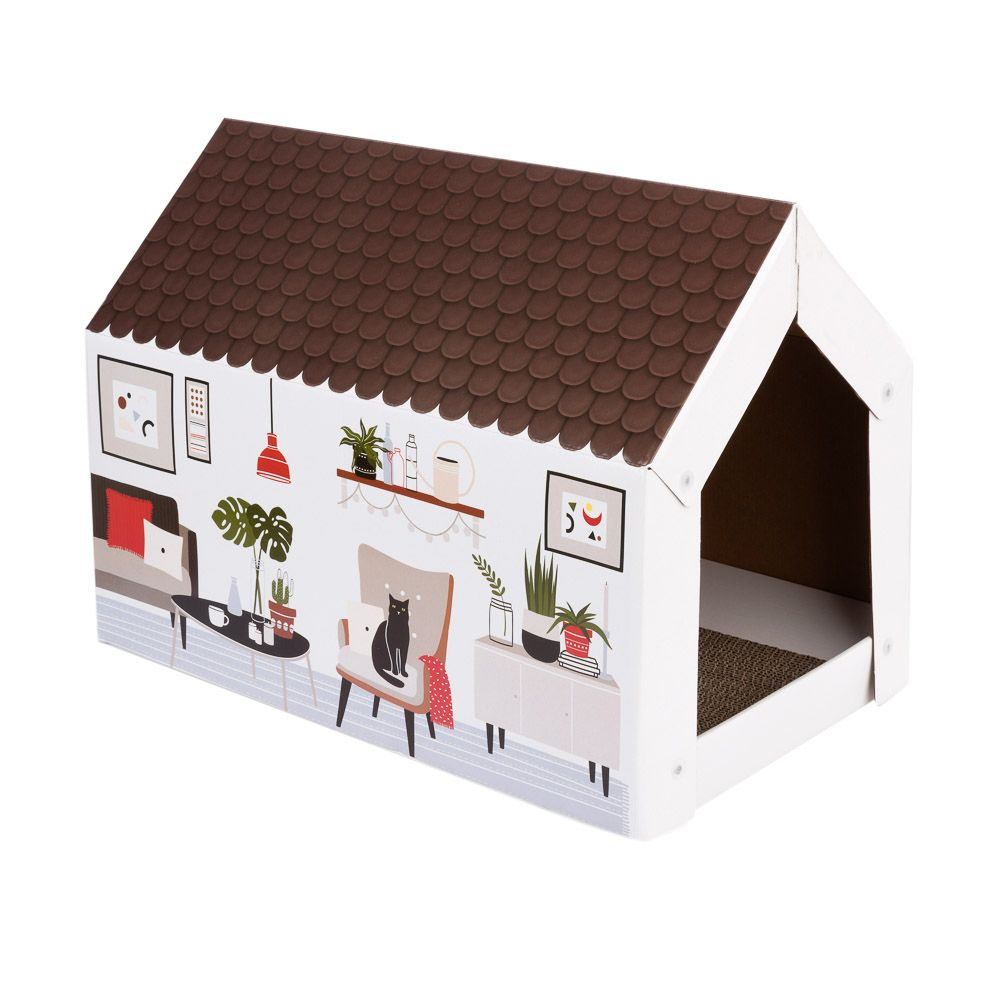 Home XL katthus med klösbräda - retrodesign L 58 x B 36 x H 41 cm