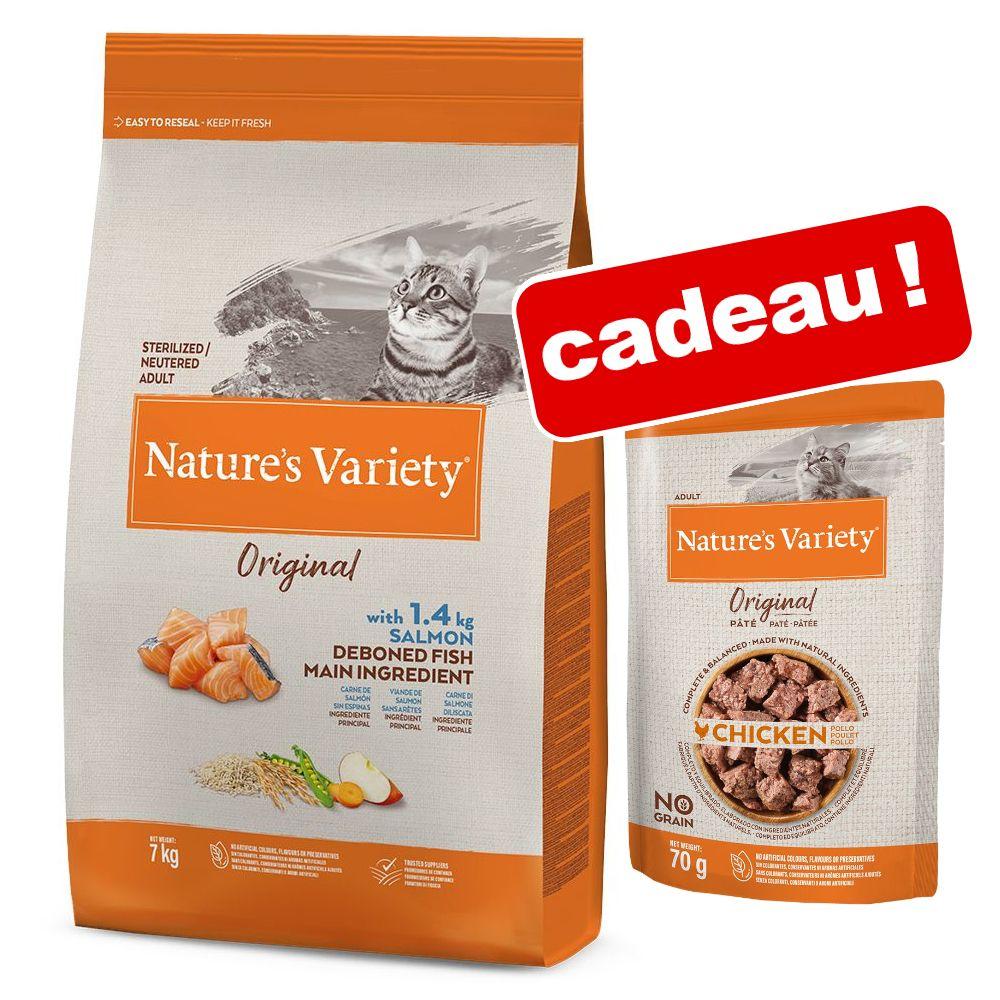7kg poulet Original Nature's Variety Croquettes pour chat + 12x70g Paté No Grain Original Nature's Variety sachets offerts