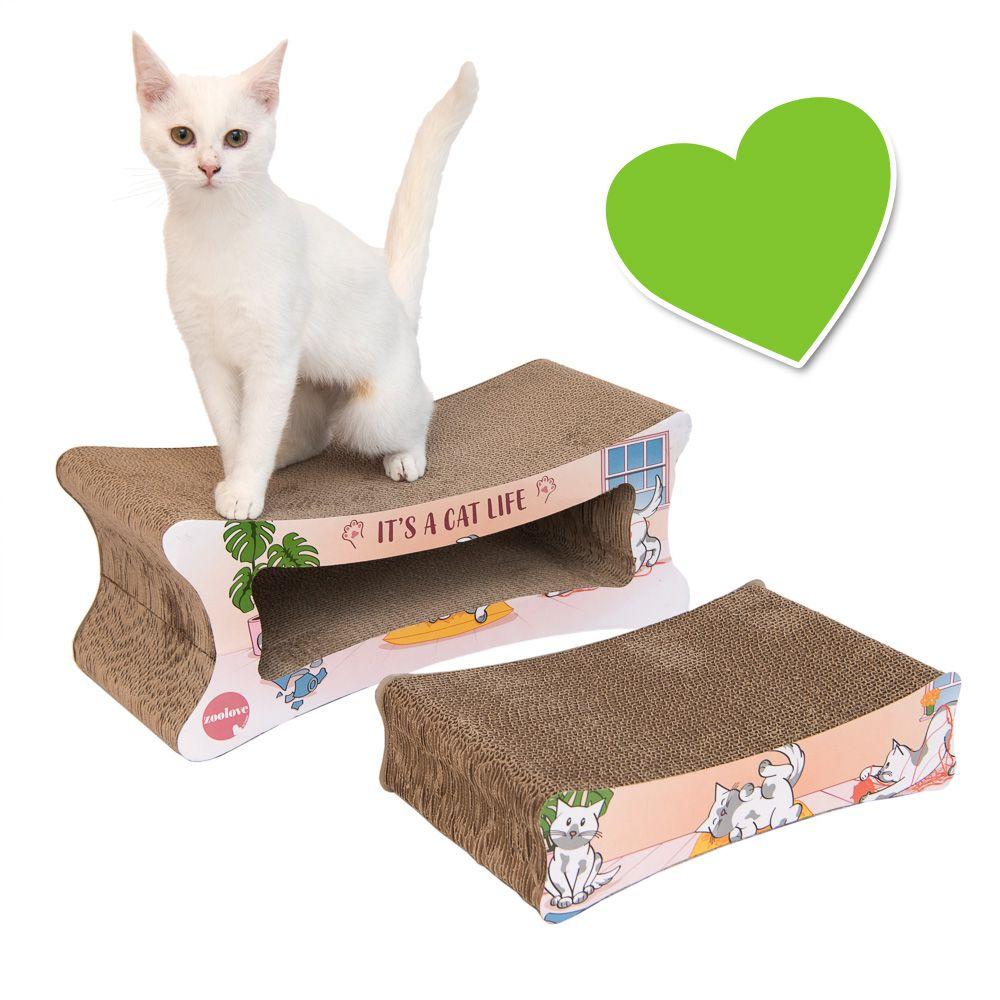 Katzen lieben Wellpappe! Das leichte und gleichzeitig robuste Kratzmöbel birgt doppelten Kratz- und Spiel-Spass: wird der Innere Kratzblock herausgenommen, haben Sie ein weiteres Kratz-Brett für Ihren Liebling. Ihre Fellnase kann sich hiermit also zur Genüge austoben und ausgi...