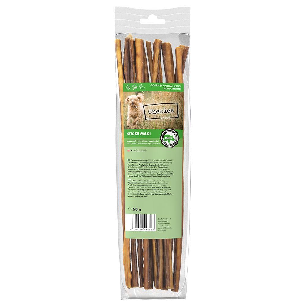 3x60g Friandises Chewies Sticks Maxi porc - Friandises pour chien