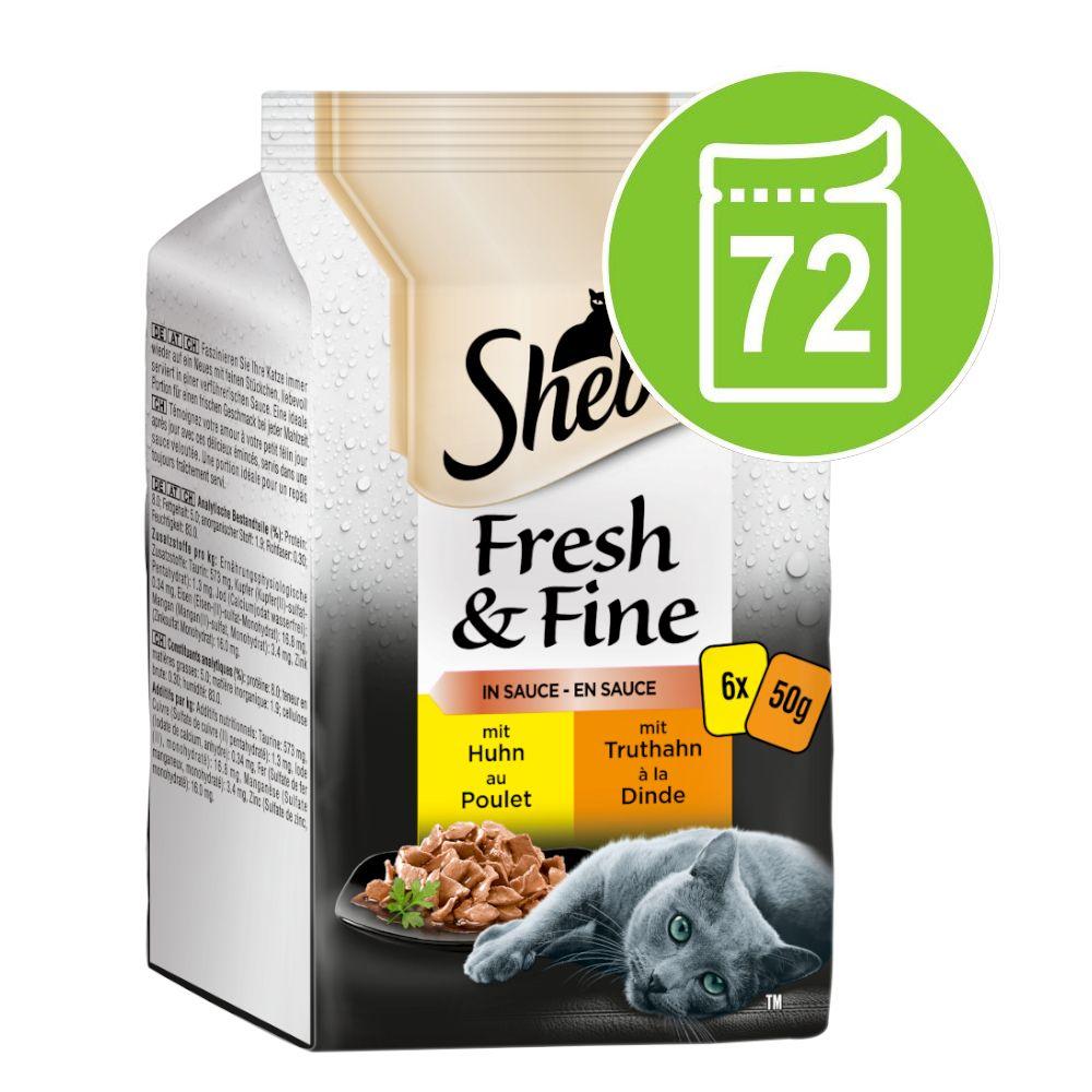 Sparpaket Sheba Fresh & Fine Frischebeutel 72 x 50 g - Huhn & Truthahn in Sauce