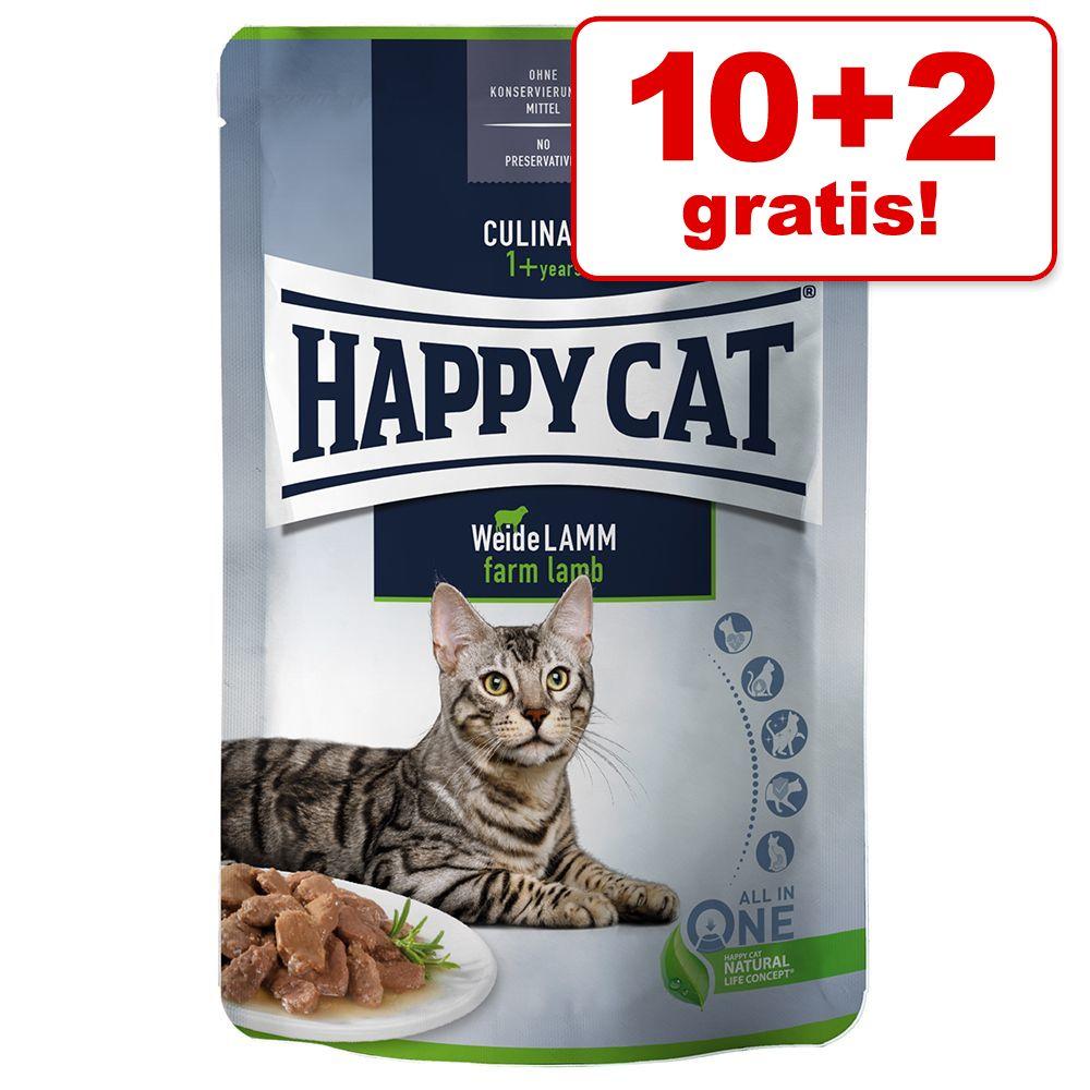 10 + 2 gratis! Happy Cat Pouch Meat in Sauce  - Weide-Lamm