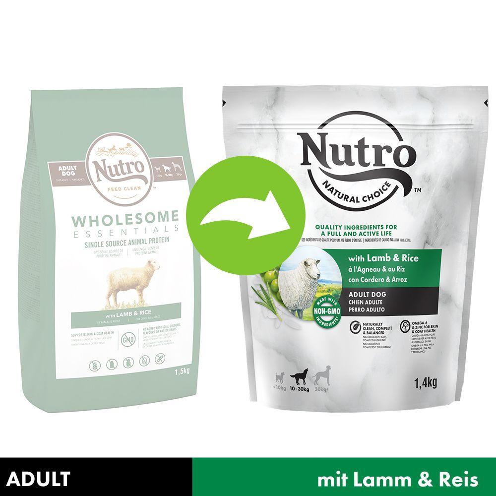 NUTRO Hund Adult 10-30 kg mit Lamm und Reis - Sparpaket: 5 x 1,4 kg