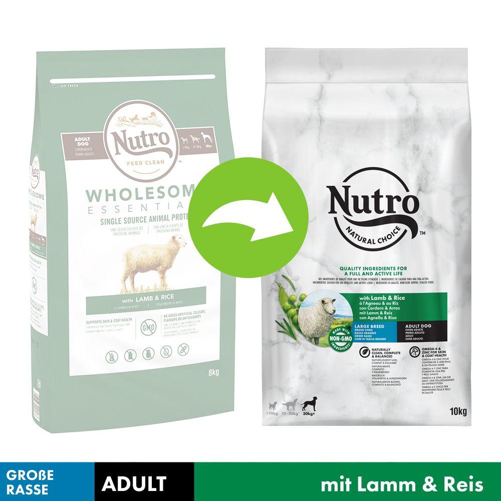 NUTRO Hund Adult 30 kg+ mit Lamm und Reis - Sparpaket: 2 x 10 kg