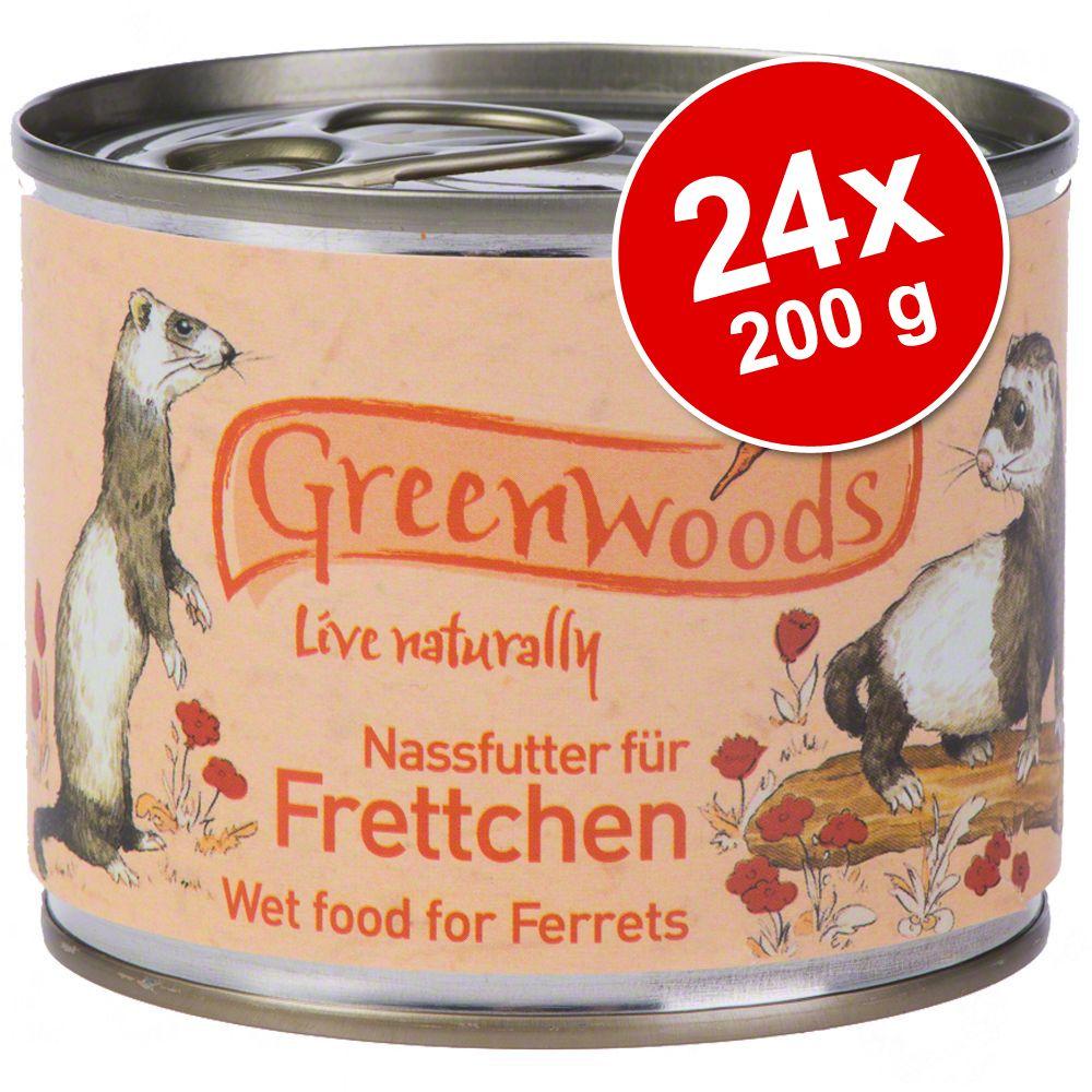 Ekonomipack: Greenwoods våtfoder för illrar 24 x 200 g - Kyckling