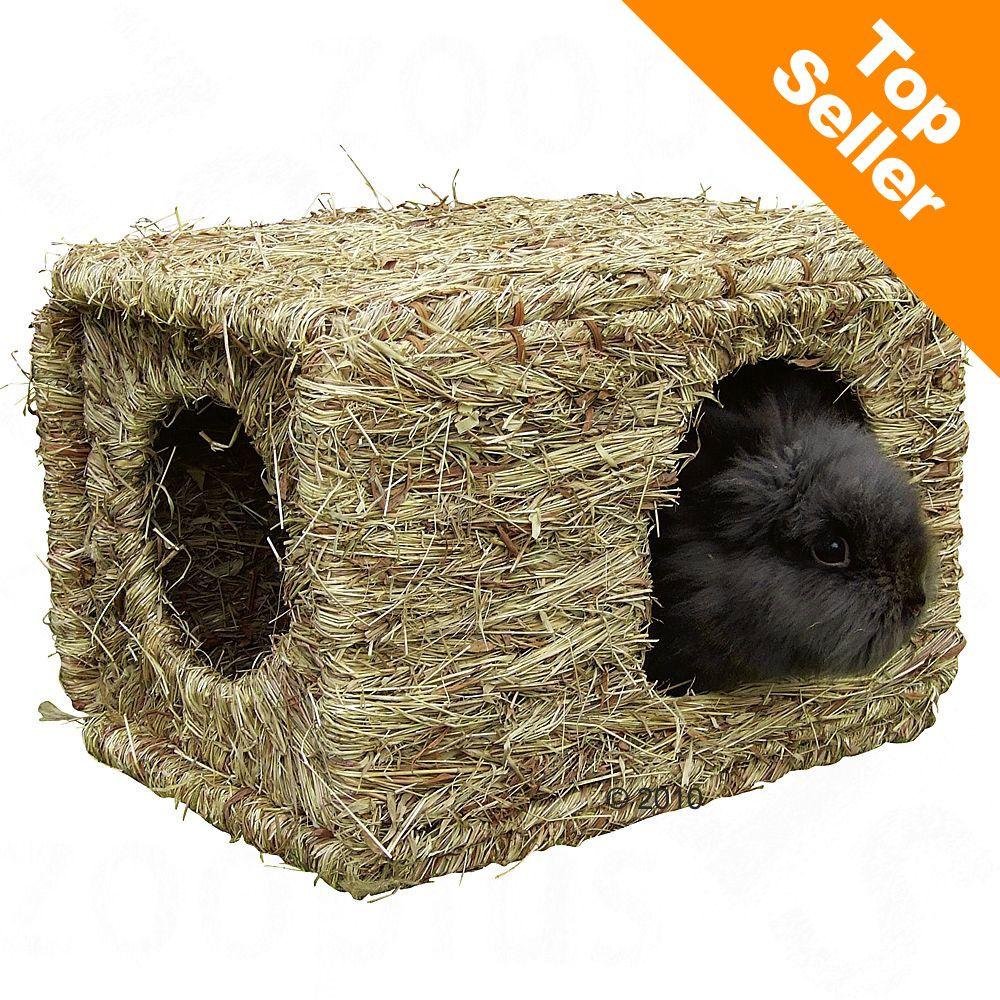 Maison en herbe séchée XL pour rongeur et lapin - L 37 x l 30 x H 28 cm