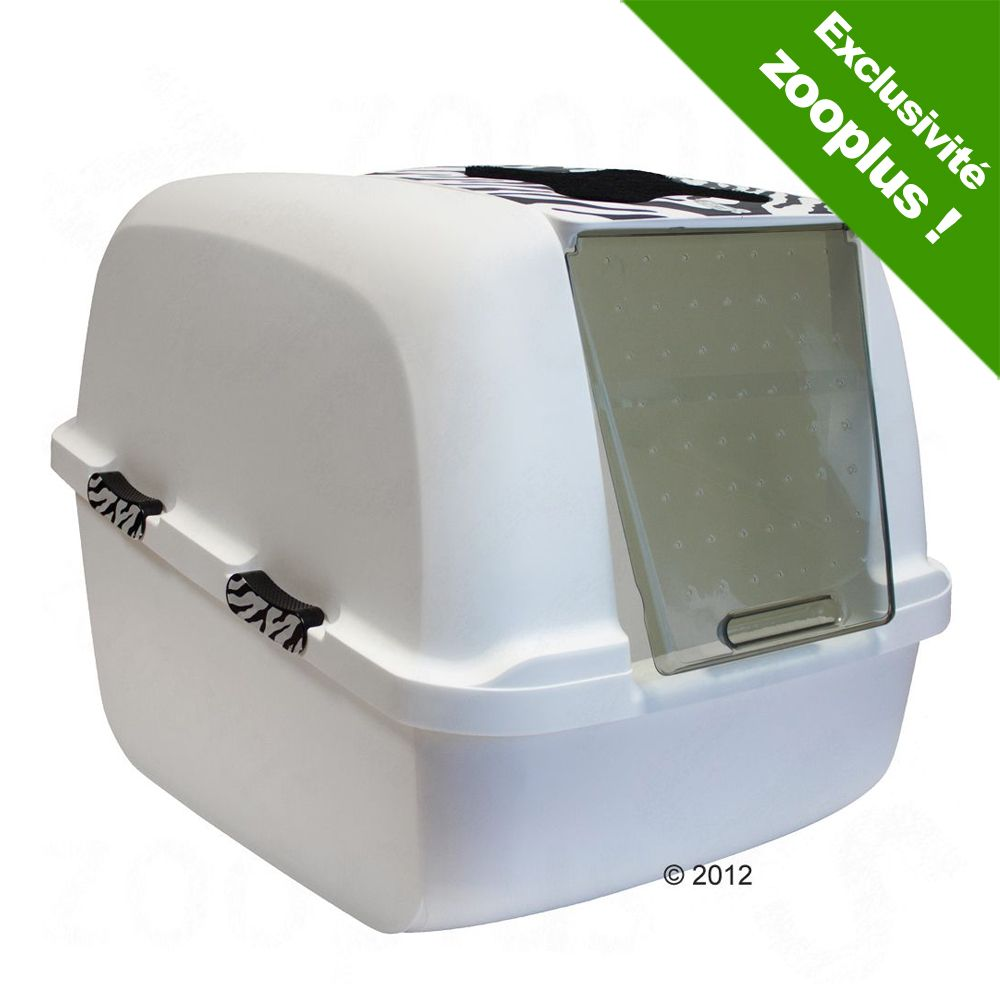 Catit Jumbo White Tiger Maison de toilette pour chat - Blanc/Motif tigre