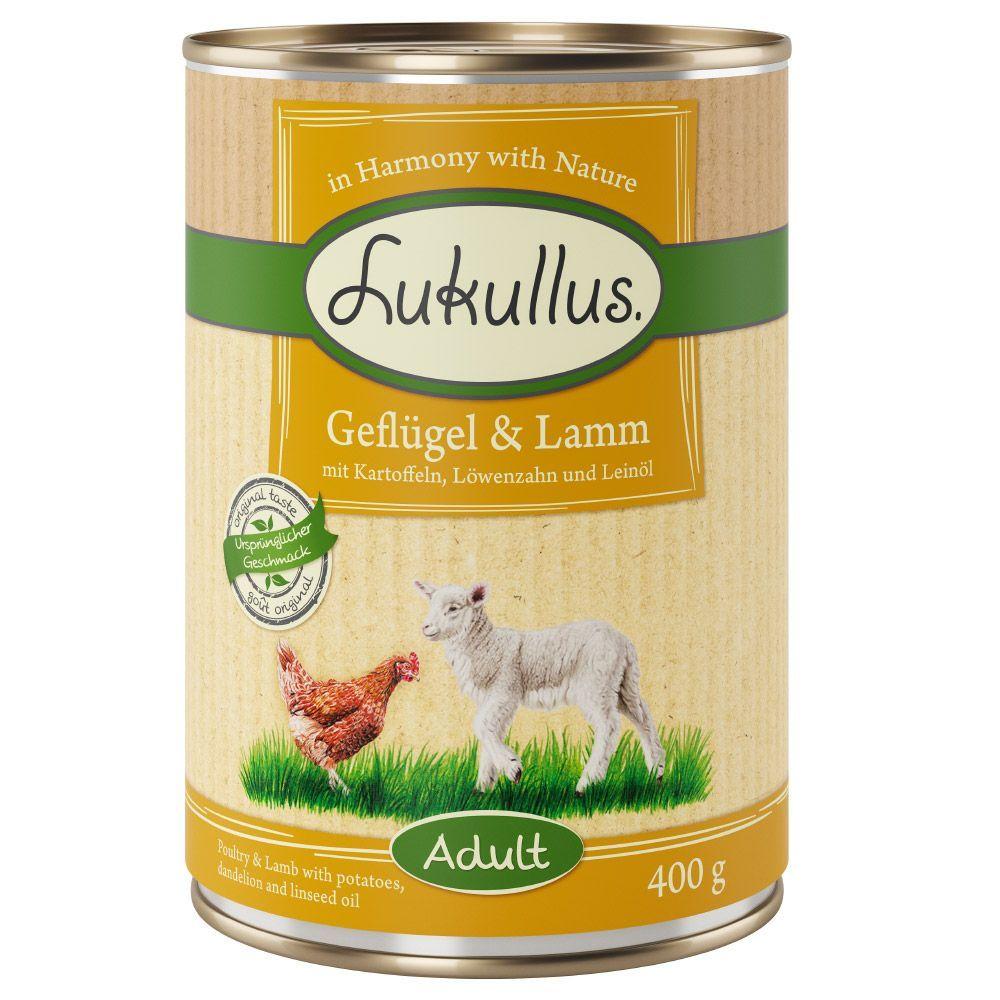 5 + 1 gratis! 6 x 400 g Lukullus Naturkost/Menu Gustico - Junior: Putenherzen & Lamm