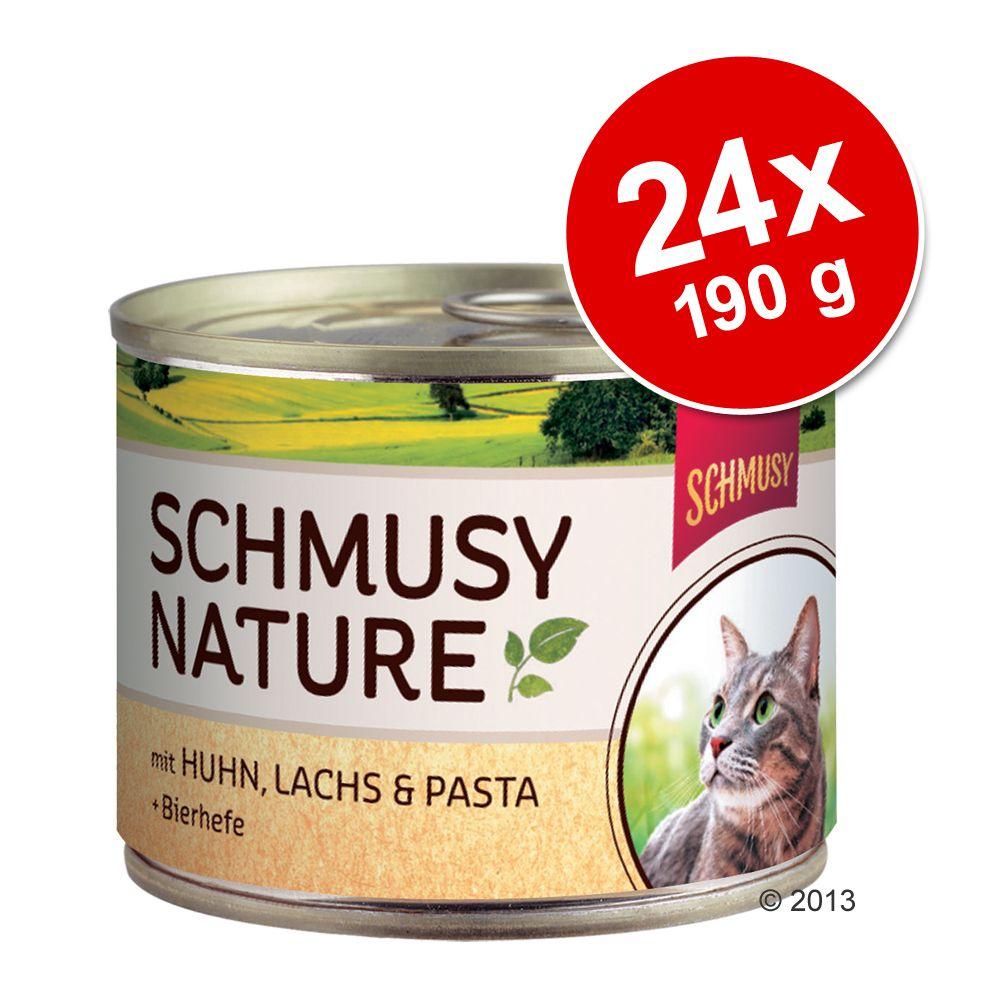 Foto Schmusy Nature 24 x 190 g - Adult Selvaggina, Tonno, Pasta & Vinacce di mela Set risparmio Schmusy
