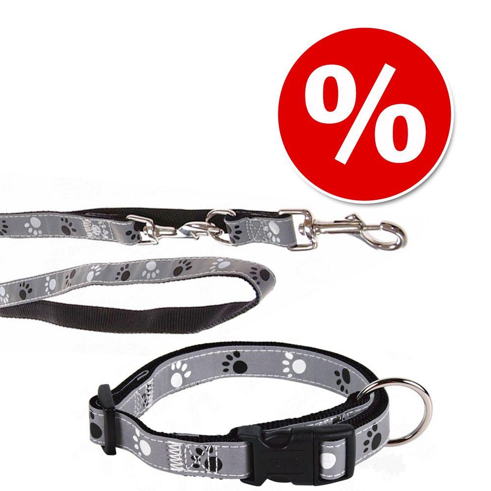 Set: Halsband Pfoten Silver Reflect + Hundeleine - Halsband Größe S-M + Leine 200 cm / 20 mm