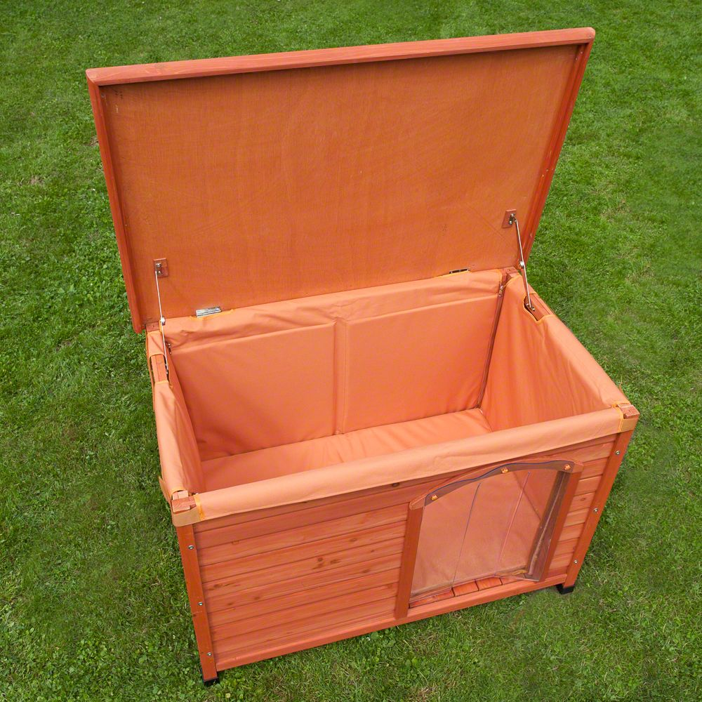 The Woody Flat-Roofed Dog Kennel is made of oiled wood with feet raising the house approx. 8cm off the ground. This protects your dog from cold and moisture while ...