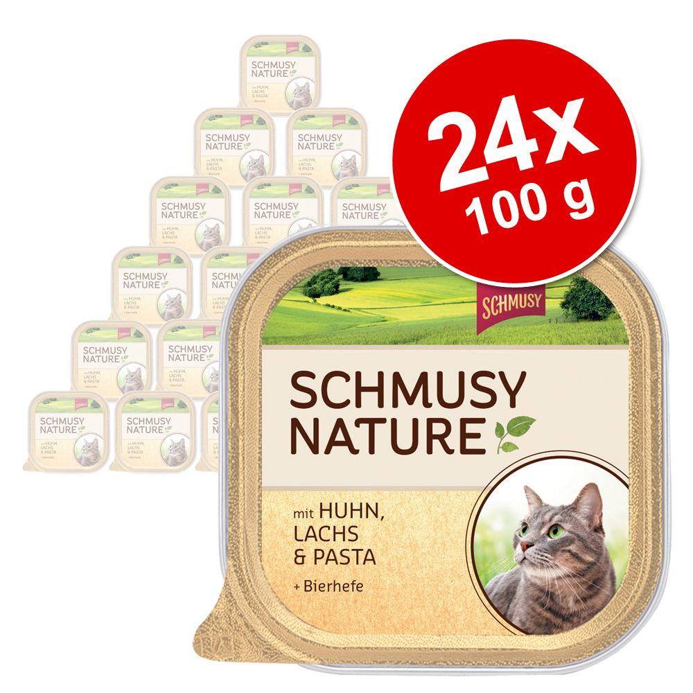 Sparpaket Schmusy Nature Schälchen 24 x 100 g - Pute, Kaninchen, Reis & Leinsamen