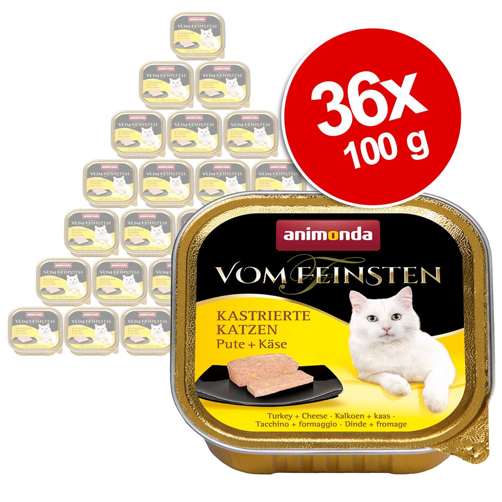 Ekonomipack: Animonda vom Feinsten för kastrerade katter 36 x 100 g Kalkon & öring