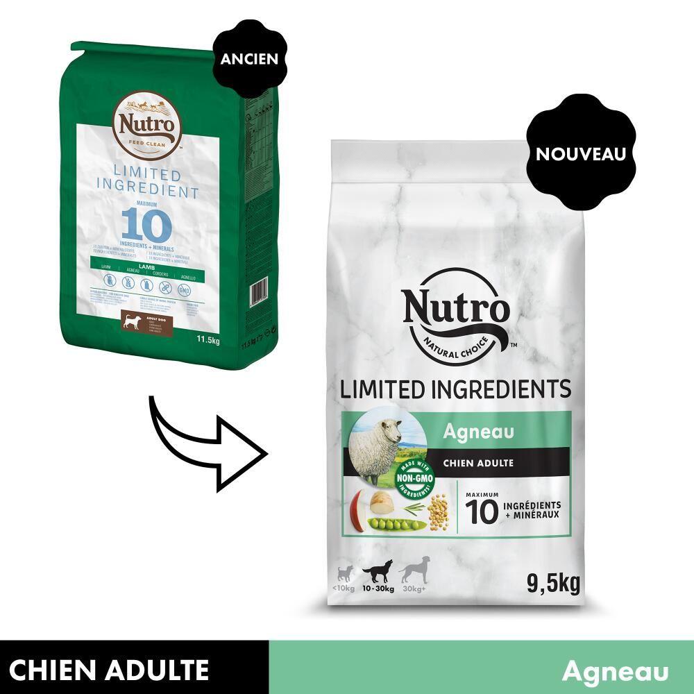 2x9,5kg Nutro Limited Ingredient Adult agneau - Croquettes pour chien