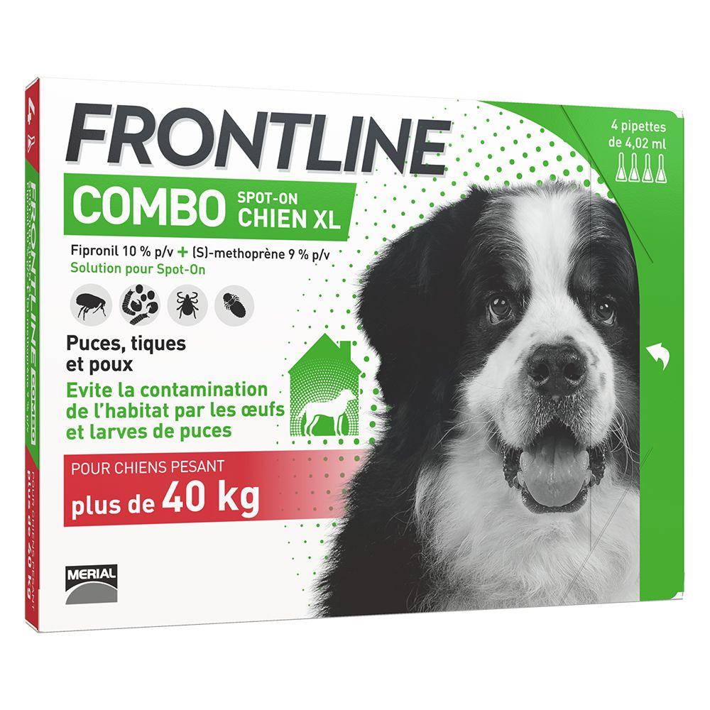 4 pipettes XL FRONTLINE Combo Chien 40-60 kg - Antiparasitaire pour chien