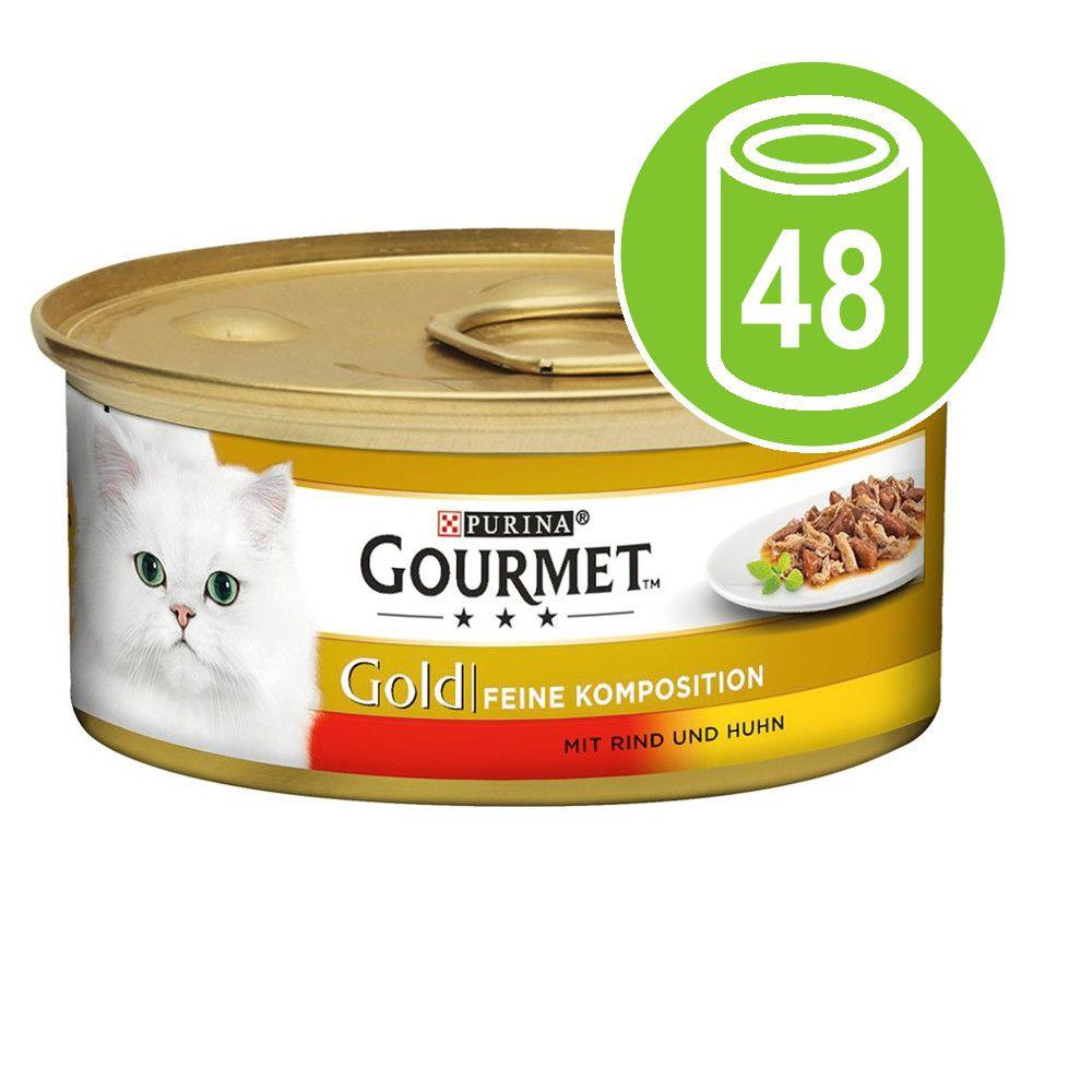 Ekonomipack: Gourmet Gold Fina kompositioner 48 x 85 g - Nötkött & Kyckling