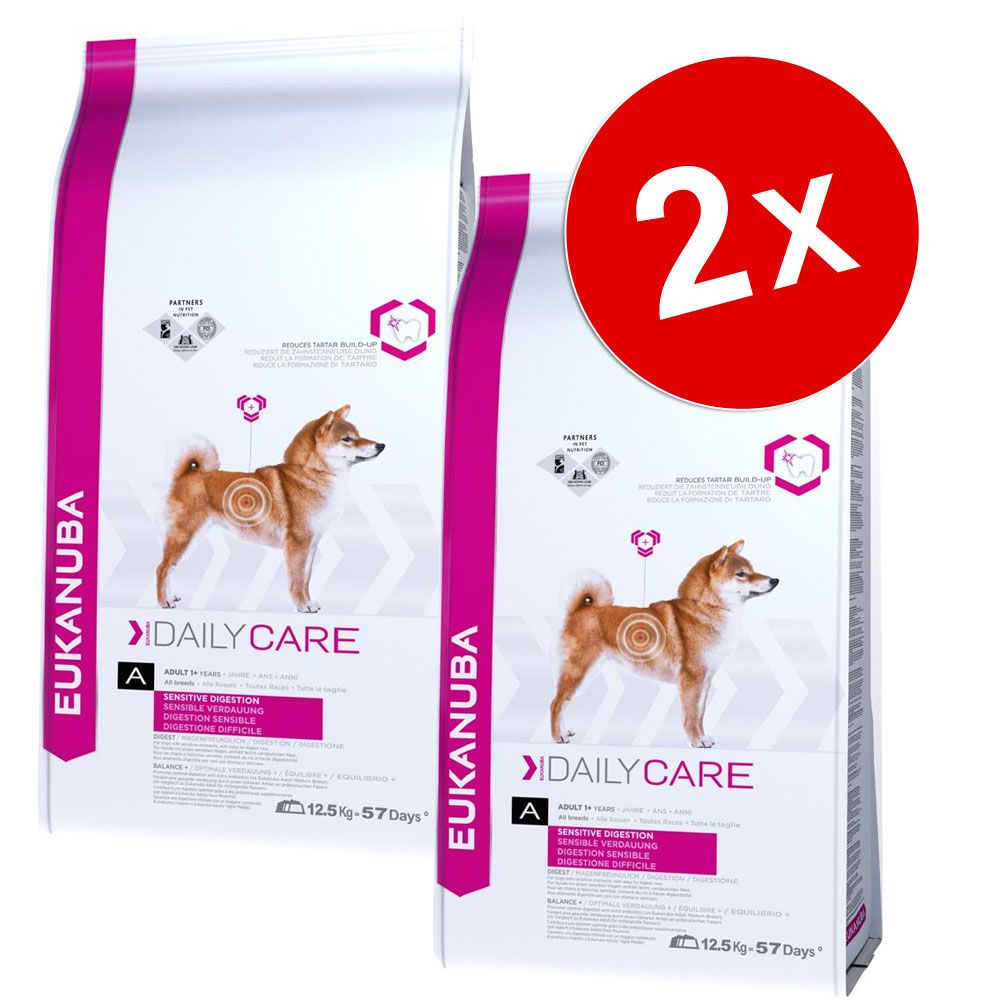 Lot Eukanuba Breed et Daily Care, x 2 pour chien - Overweight / Sterilised (2 x 12,5 kg)