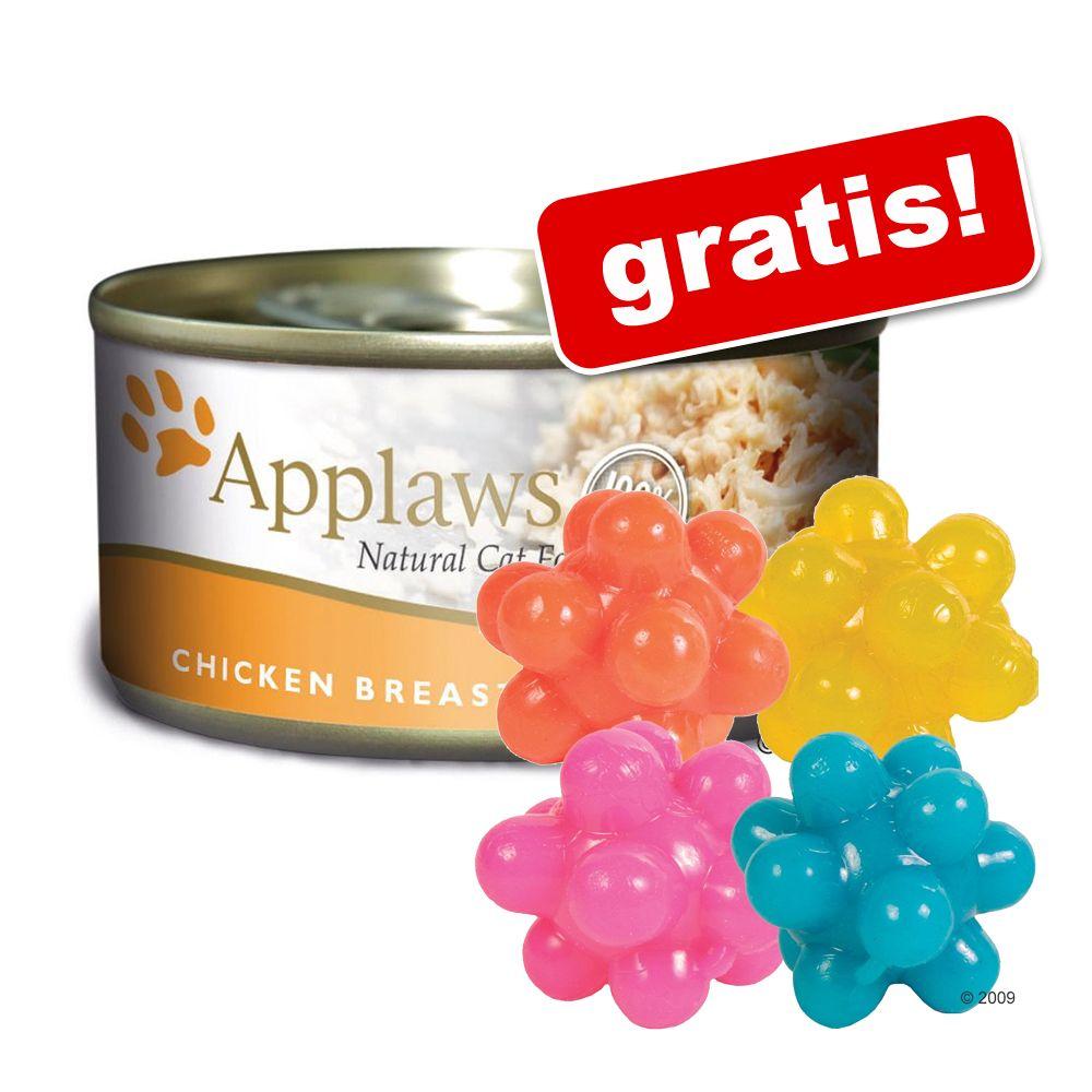 24 x 156 g Applaws kattfoder + lustiga noppbollar på köpet! – Tonfiskfilé & tång