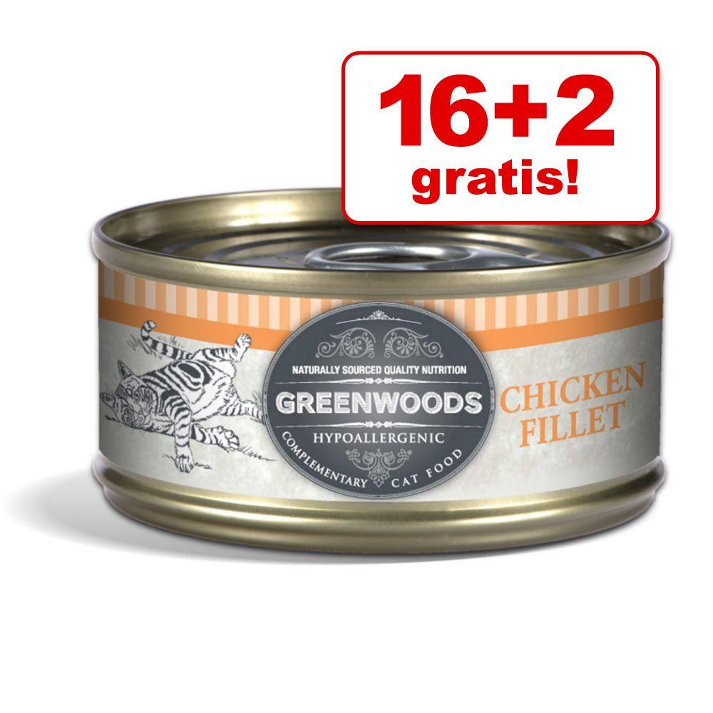 16 + 2 gratis! Greenwoods Adult karma dla kota, 18 x 70 g - Tuńczyk