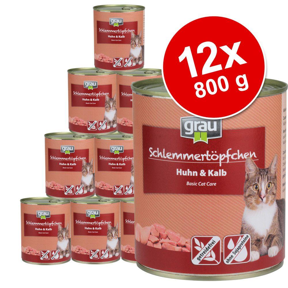 Pakiet Grau Puszka dla Łasucha bez zbóż, 12 x 800 g - Drób i ryby morskie