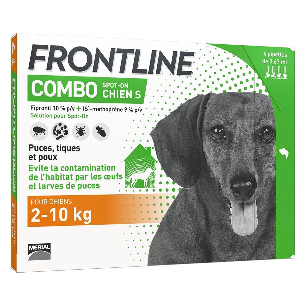 4 pipettes S FRONTLINE Combo Chien 2-10kg - Antiparasitaire pour chien