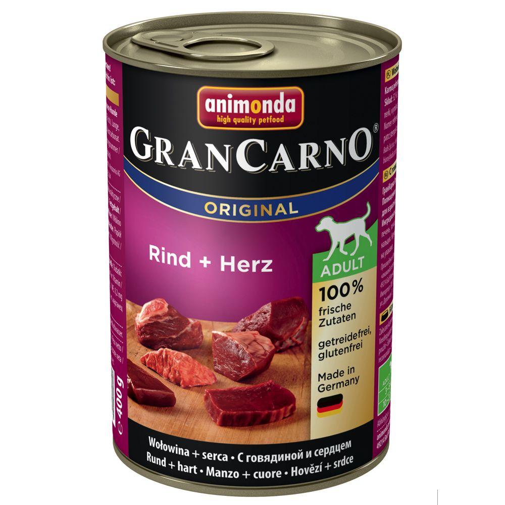 Animonda GranCarno Original Adult 6 x 400 g - Nötkött & sej med spenat