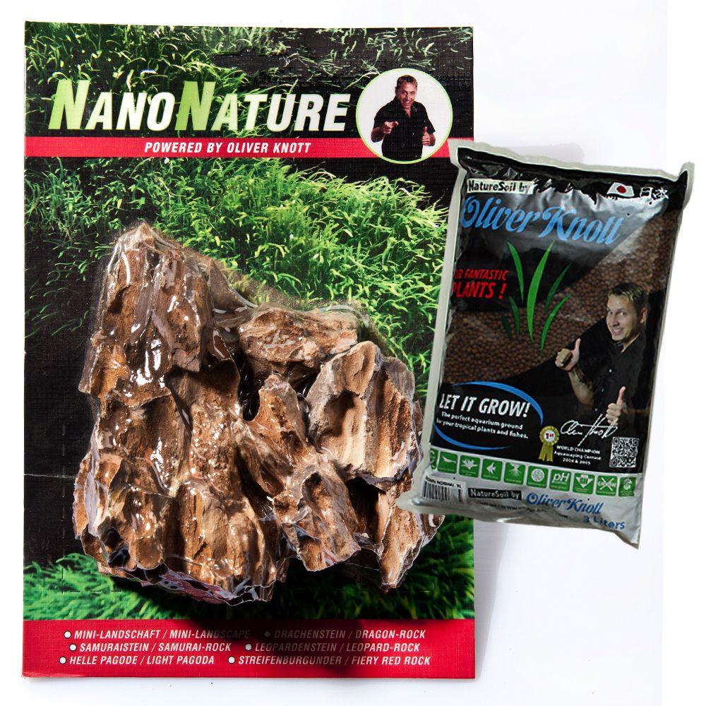 NanoNature Dragon Stone Set - 5 rocks + 3 litres NatureSoil brown, fine
